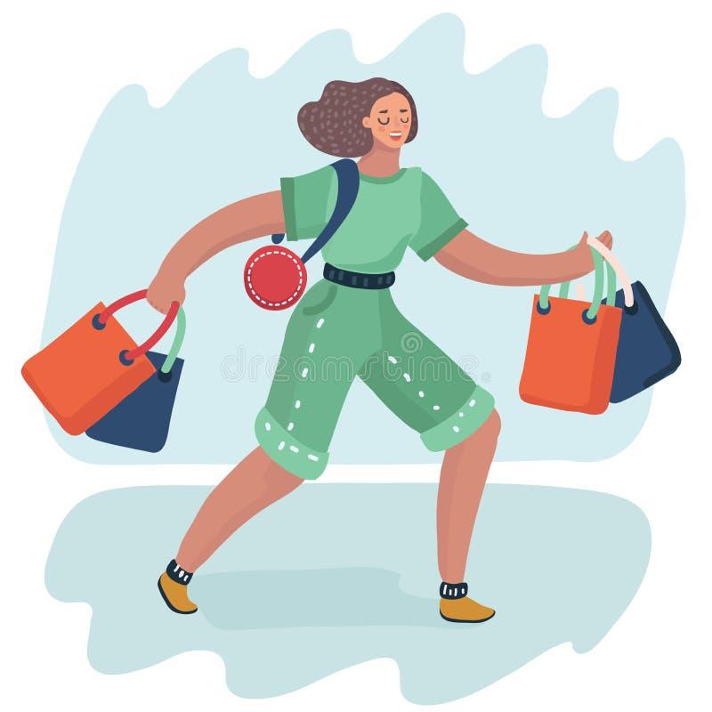 Sacchetti della spesa della donna royalty illustrazione gratis