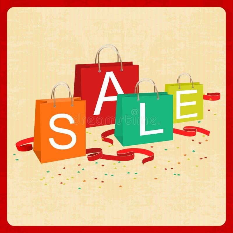 Sacchetti della spesa e testo di vendita nello stile d'annata illustrazione vettoriale
