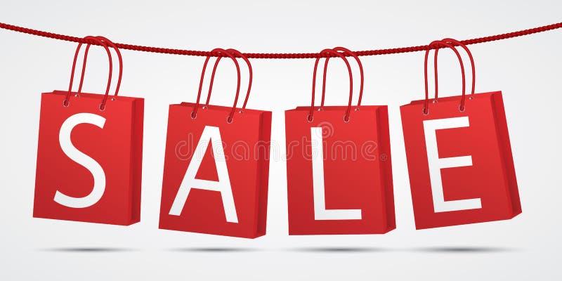 Sacchetti della spesa rossi realistici che appendono sulla corda con la vendita del testo su fondo grigio illustrazione vettoriale
