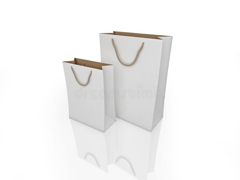 Sacchetti di acquisto bianchi illustrazione vettoriale