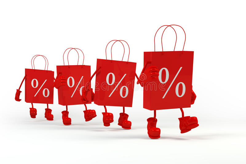 Sacchetti di acquisto di vendita Concetto dello sconto Carta dei caratteri del cubo in sacchi di carta illustrazione di stock