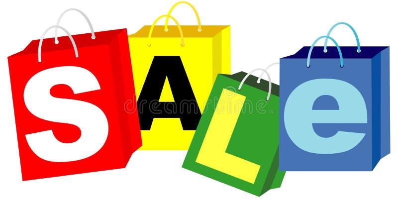 Sacchetti di acquisto - segno di vendita illustrazione vettoriale