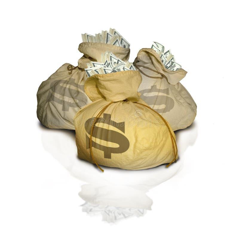 Sacchetti di soldi con la riflessione immagini stock