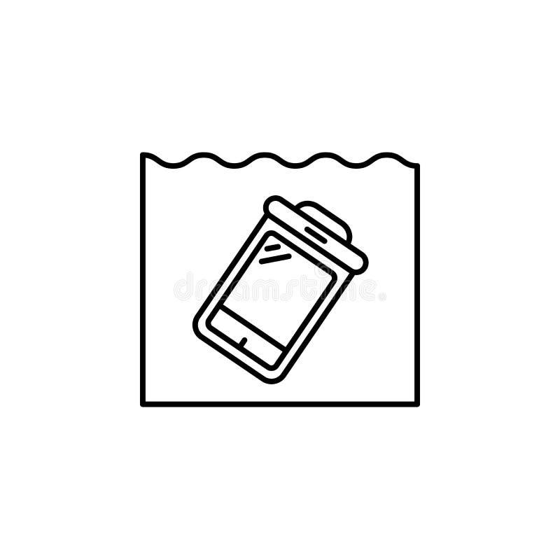 sacchetto, asciutto, resistente all'acqua, icona della linea impermeabile su fondo bianco illustrazione vettoriale