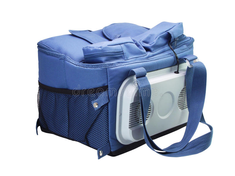 Sacchetto blu del dispositivo di raffreddamento fotografia stock libera da diritti