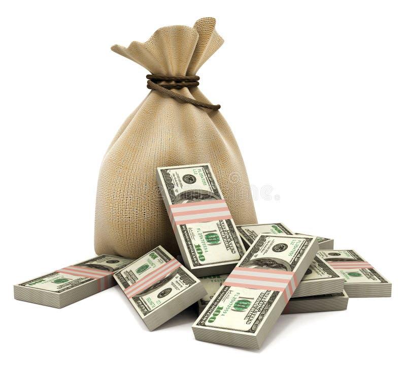 Sacchetto con i dollari dei soldi fotografie stock