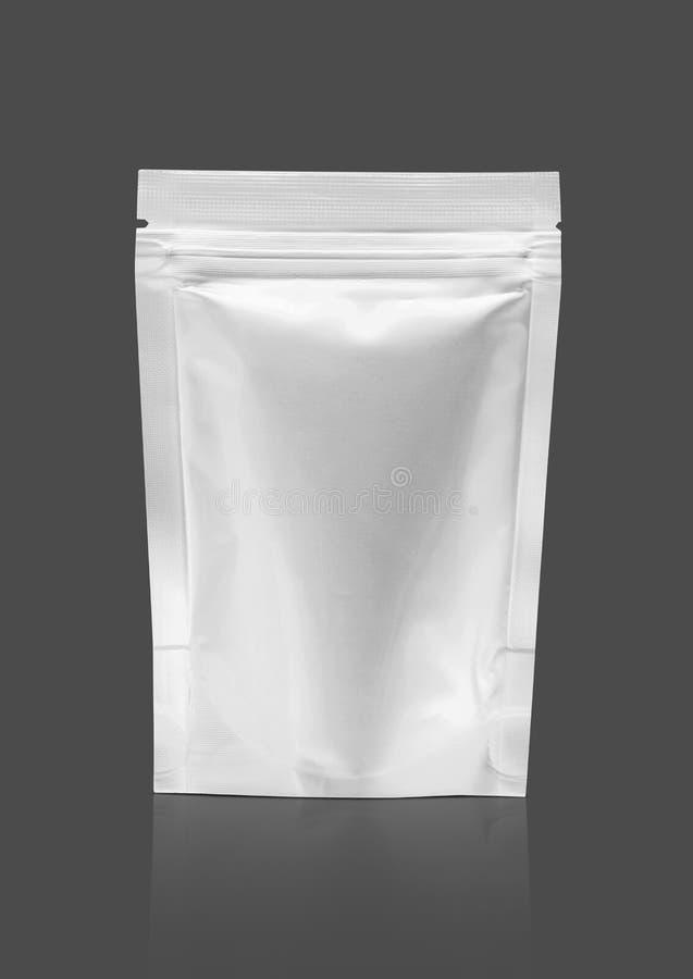 Sacchetto d'imballaggio in bianco della chiusura lampo del di alluminio fotografie stock