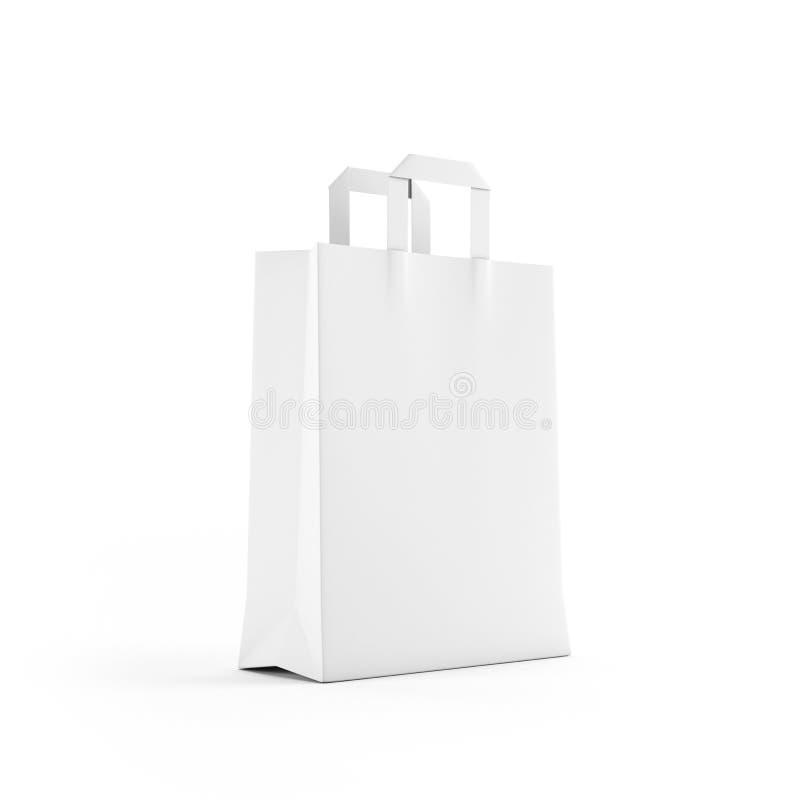 Sacchetto del Libro Bianco isolato su bianco immagini stock