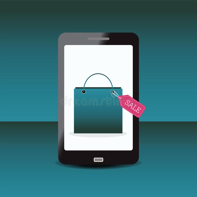 Sacchetto della spesa con l'etichetta di vendita sullo smartphone illustrazione vettoriale