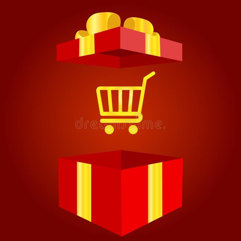 Sacchetto della spesa con l'icona del contenitore di regalo Segno di vendita o del presente Simbolo di acquisto di compleanno Pac illustrazione vettoriale