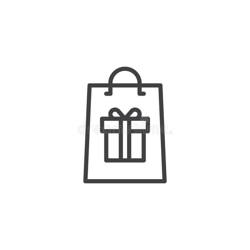 Sacchetto della spesa con l'icona del profilo del contenitore di regalo illustrazione di stock