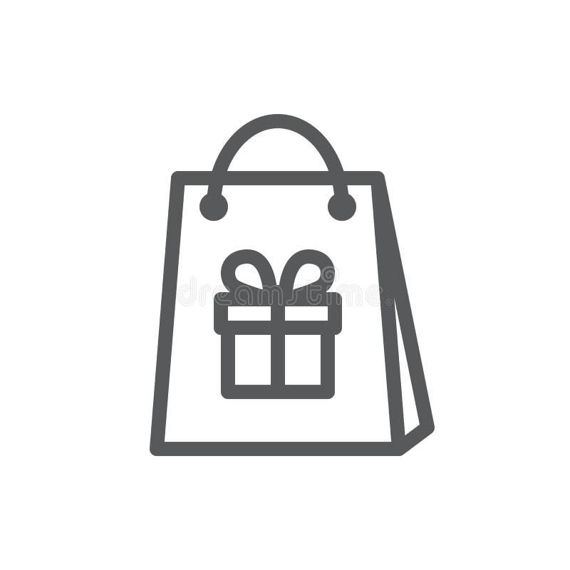 Sacchetto della spesa con l'immagine del contenitore di regalo decorato con il nastro e dell'arco - linea isolata icona dell'illu royalty illustrazione gratis