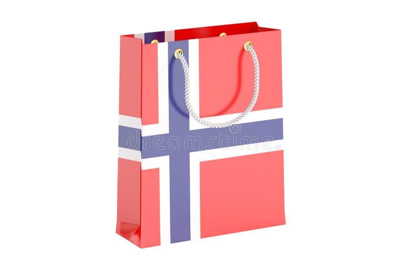 Sacchetto della spesa con la bandiera norvegese, rappresentazione 3D royalty illustrazione gratis