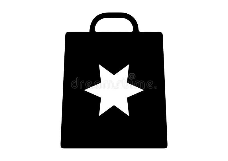 Sacchetto della spesa con le punte della stella sei illustrazione di stock