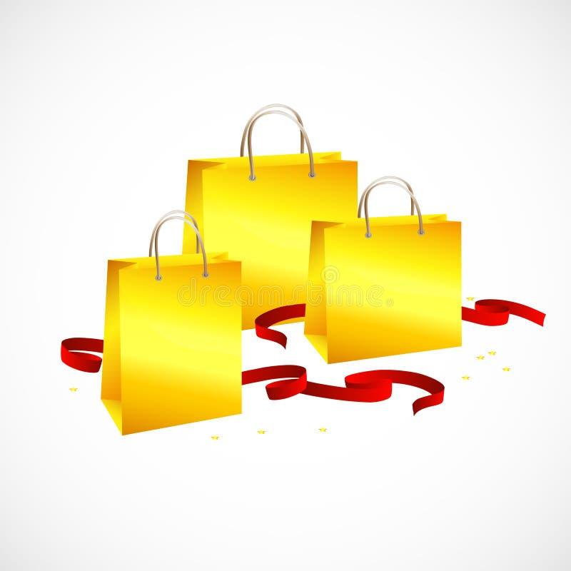 Sacchetto della spesa dell'oro, rosso del nastro e stelle illustrazione di stock