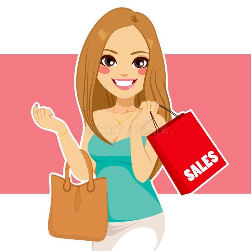 Sacchetto della spesa della donna illustrazione di stock