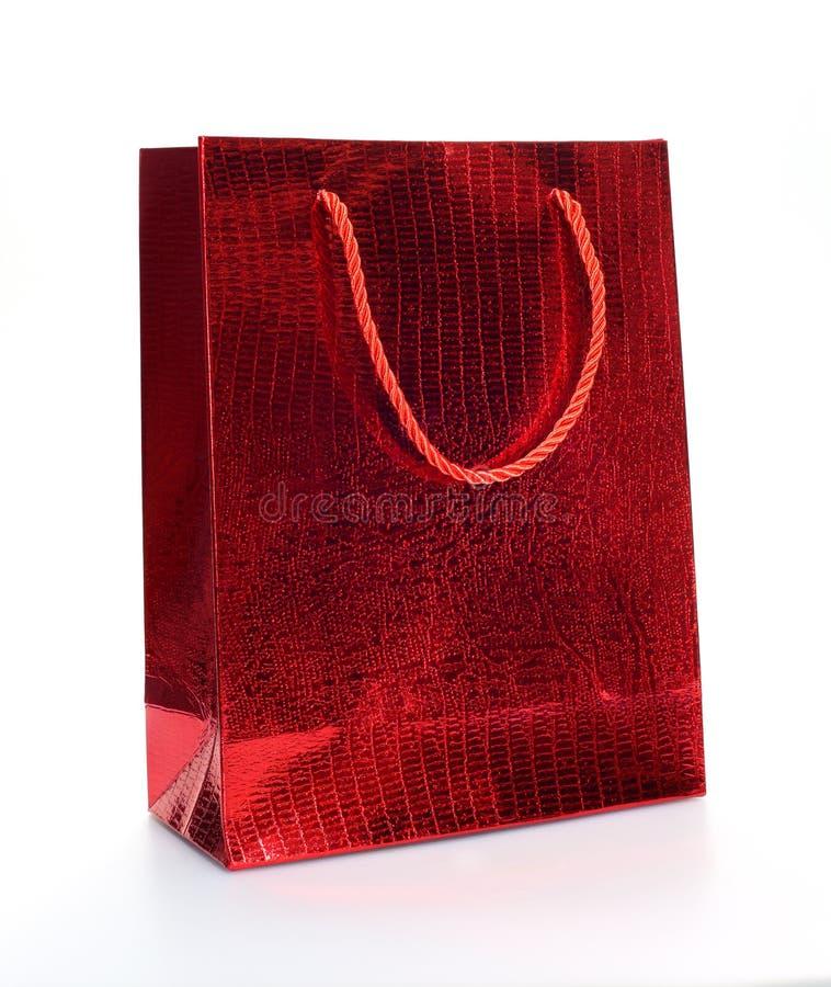 Sacchetto della spesa di lusso rosso fotografie stock