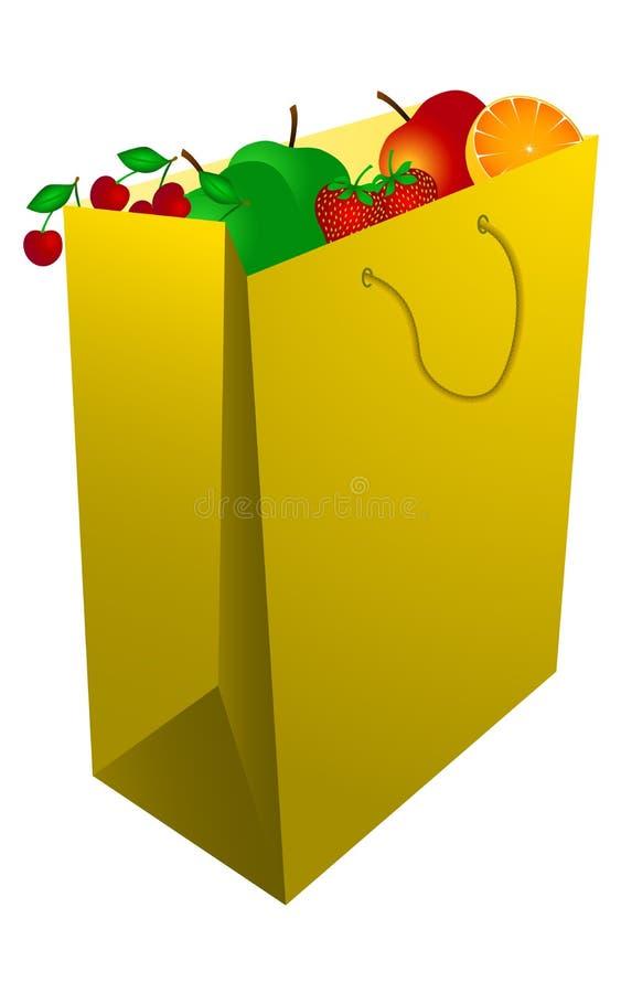 Sacchetto della spesa giallo con frutta illustrazione di stock