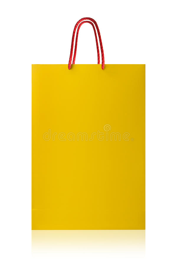 Sacchetto della spesa giallo, con il percorso di ritaglio su backgr bianco fotografia stock