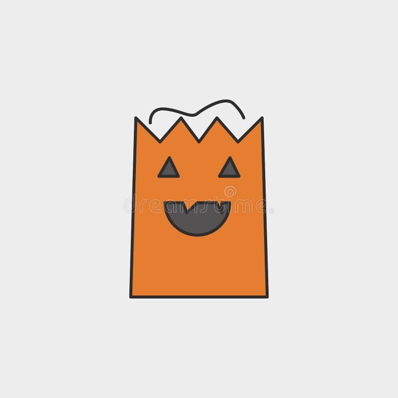 Sacchetto della spesa per l'icona colorata profilo di giorno di Halloween illustrazione di stock