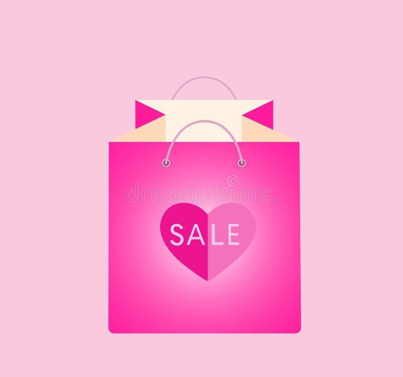 Sacchetto della spesa rosa con cuore illustrazione di stock