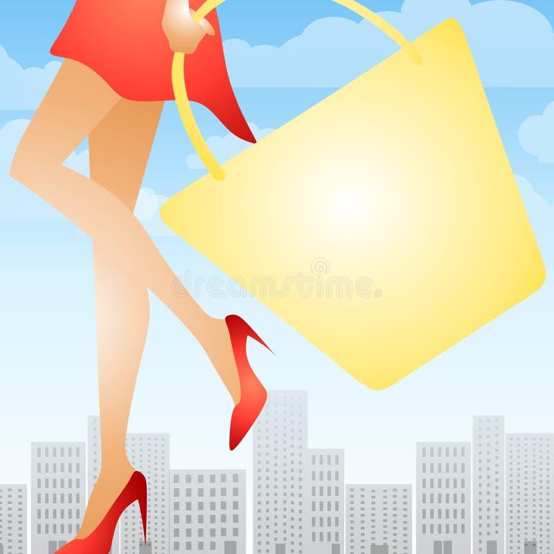 Sacchetto di acquisto ambulante della donna illustrazione vettoriale