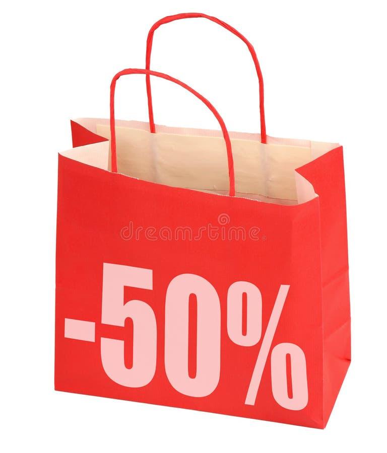 Sacchetto di acquisto con il segno -50% fotografia stock libera da diritti