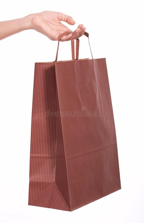 Sacchetto di acquisto del Brown immagine stock