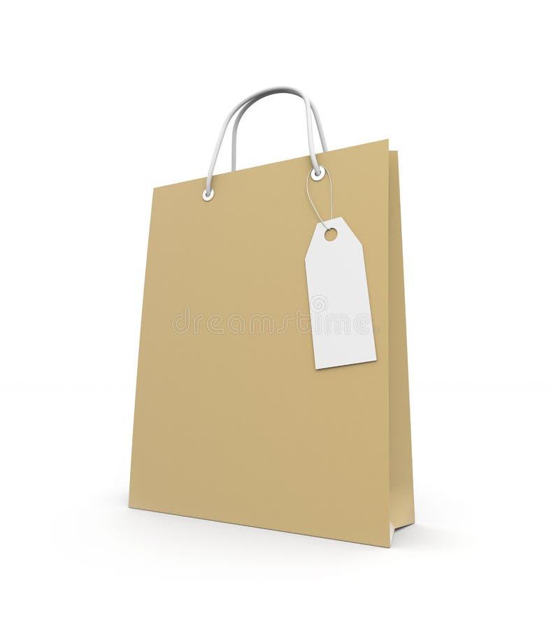 Sacchetto di acquisto di carta con il contrassegno royalty illustrazione gratis