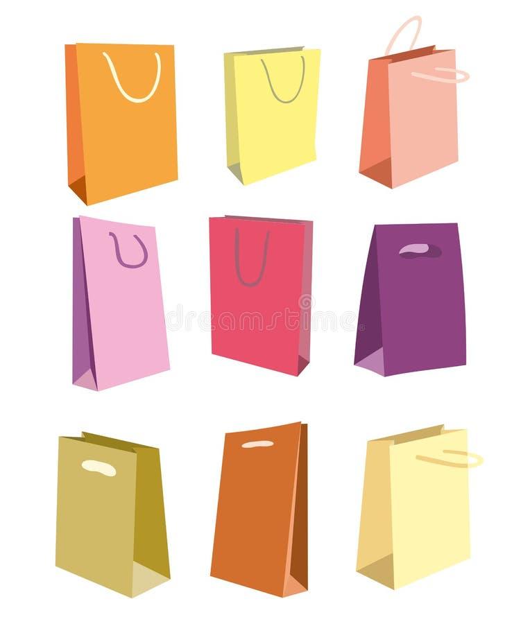 Sacchetto di acquisto variopinto su priorità bassa bianca Icone stabilite dei sacchetti della spesa di vettore illustrazione vettoriale