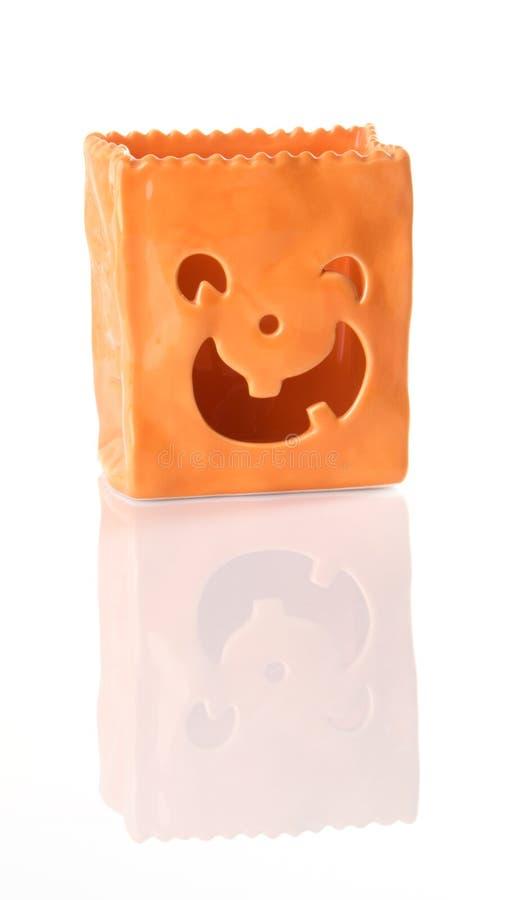 Sacchetto di ceramica arancione della lanterna del Jack O fotografia stock libera da diritti