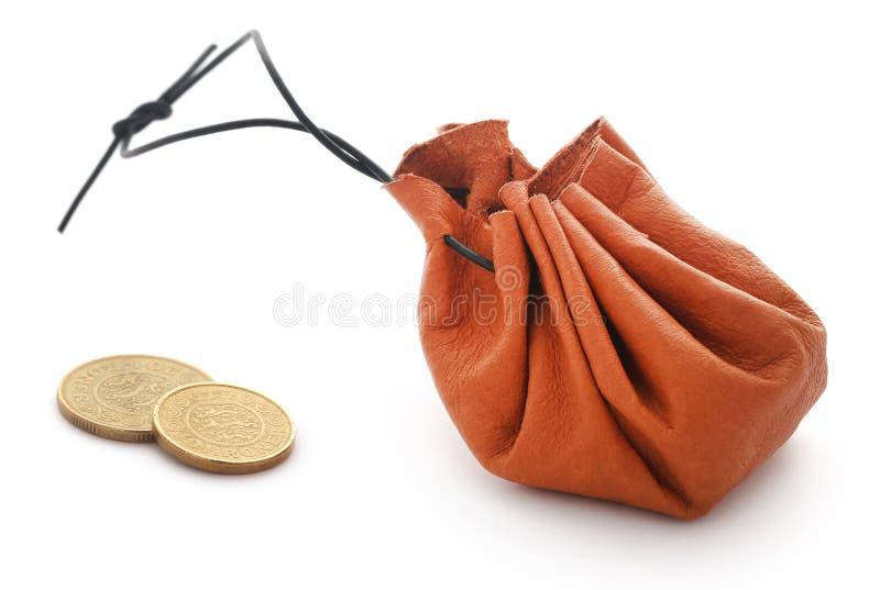 Sacchetto di cuoio della moneta immagini stock