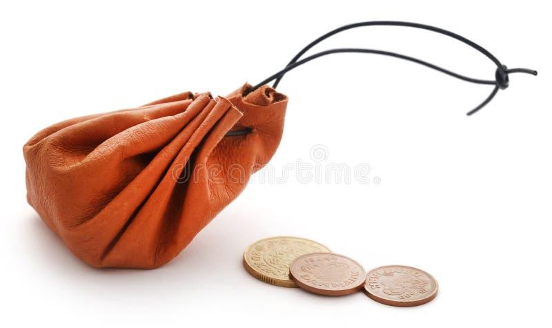 Sacchetto di cuoio della moneta fotografia stock