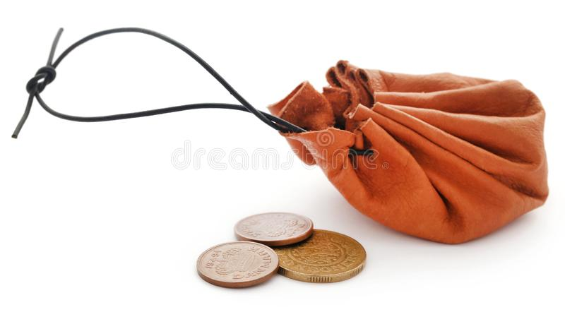 Sacchetto di cuoio della moneta con la corona danese fotografia stock libera da diritti