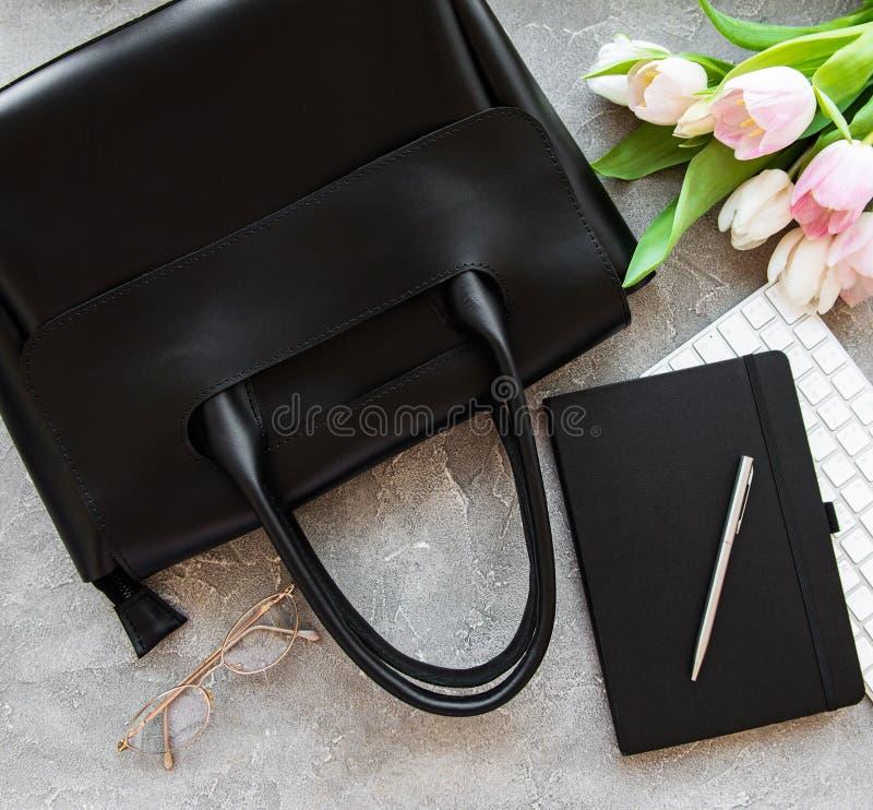 Sacchetto di cuoio nero fotografie stock