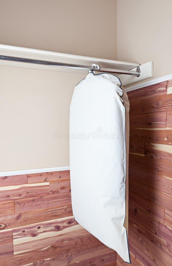 Sacchetto di indumento che appende nell'armadio del cedro immagini stock
