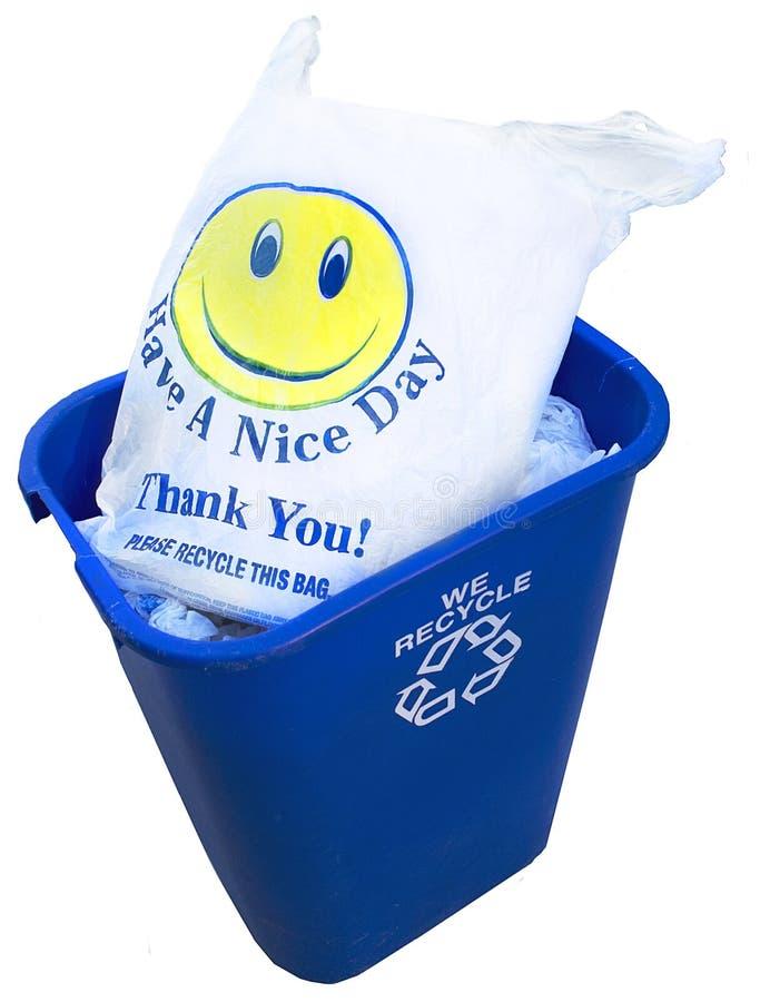 Sacchetto di plastica riciclato HappyFace immagini stock