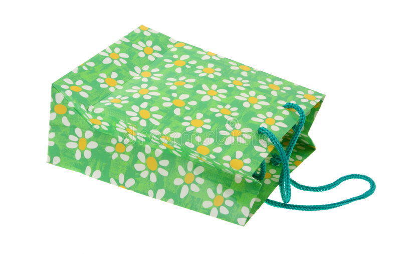 Sacchetto di shopping decorativo su #2 bianco immagine stock