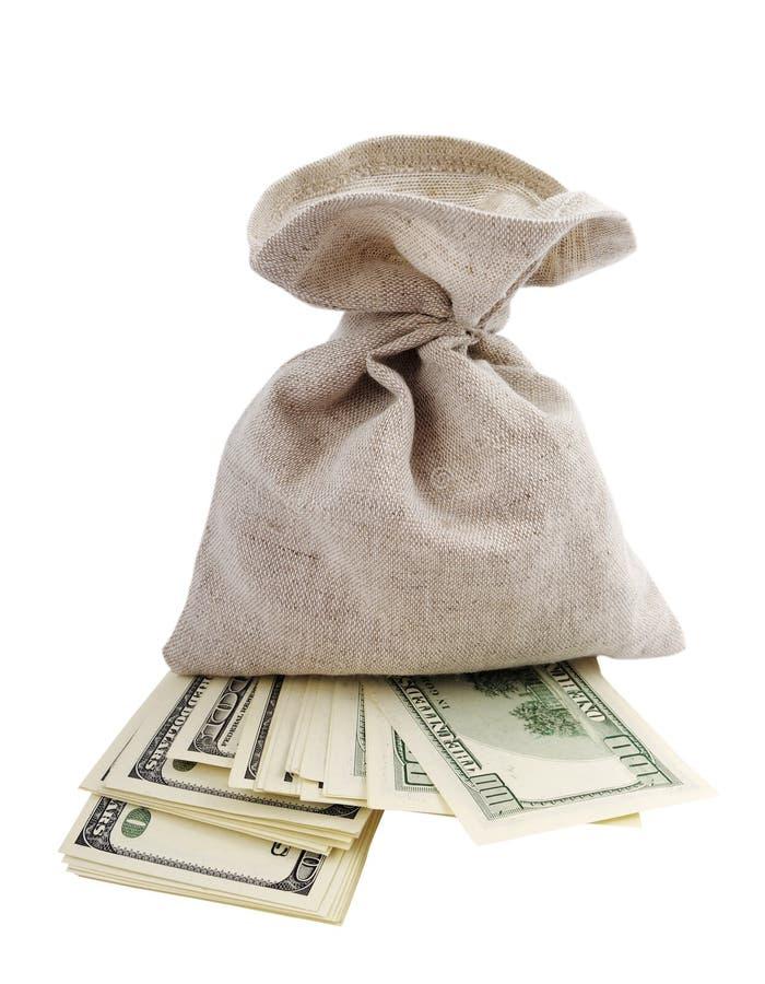 Sacchetto e soldi. immagine stock