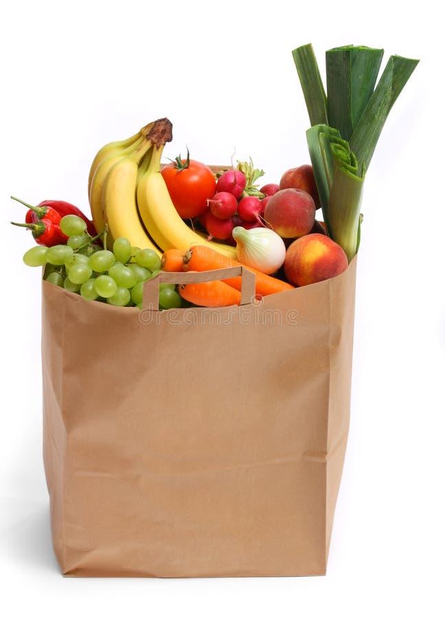 Sacchetto in pieno delle frutta e delle verdure sane fotografia stock