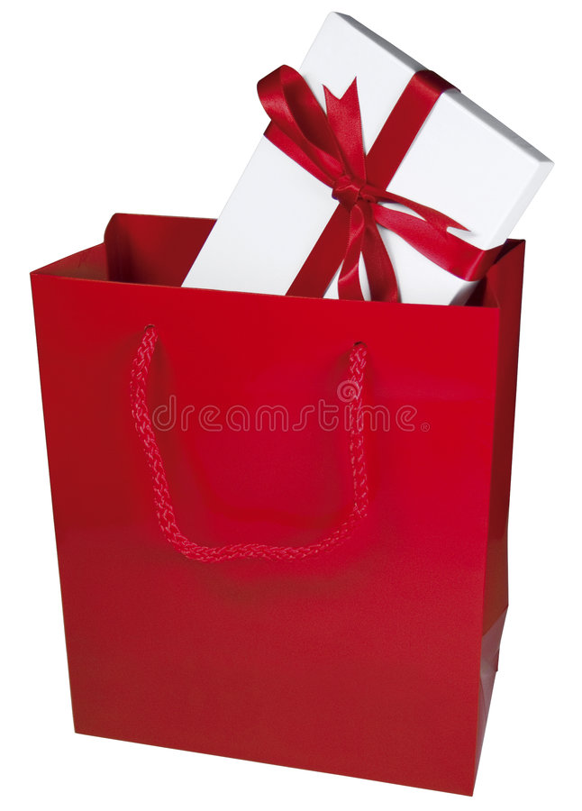 Sacchetto rosso del regalo fotografia stock libera da diritti