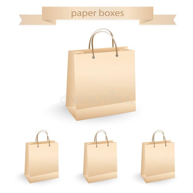 Sacchi di carta di acquisto, illustrazione di vettore illustrazione di stock
