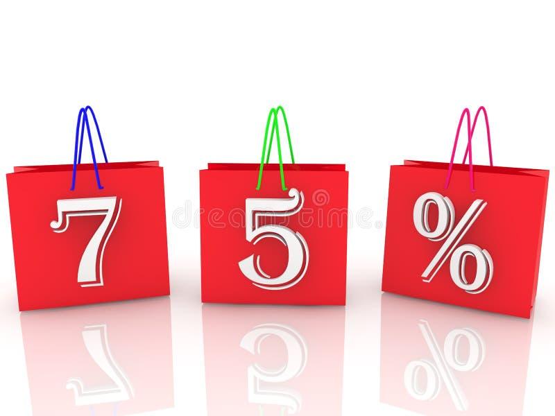 Sacchi rossi con iscrizione del 75% con maniglie di colore diverse immagine stock libera da diritti