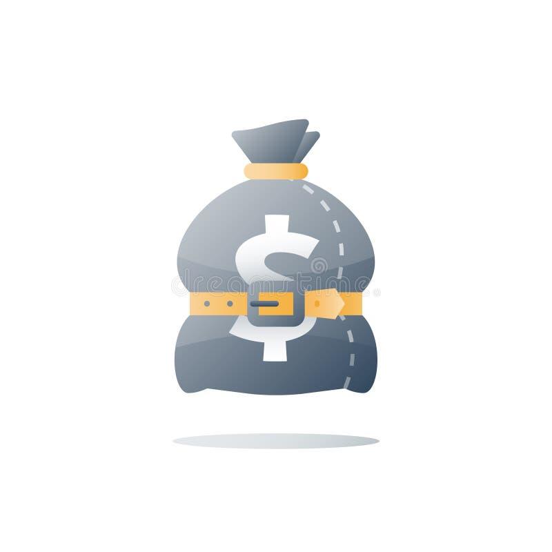 Sacco con la cinghia, borsa legata dei soldi, disavanzo del bilancio, pianificazione di finanza, concetto di economia, spesa effi illustrazione vettoriale