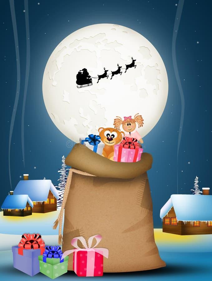 Sacco dei regali sulla notte di Natale illustrazione di stock