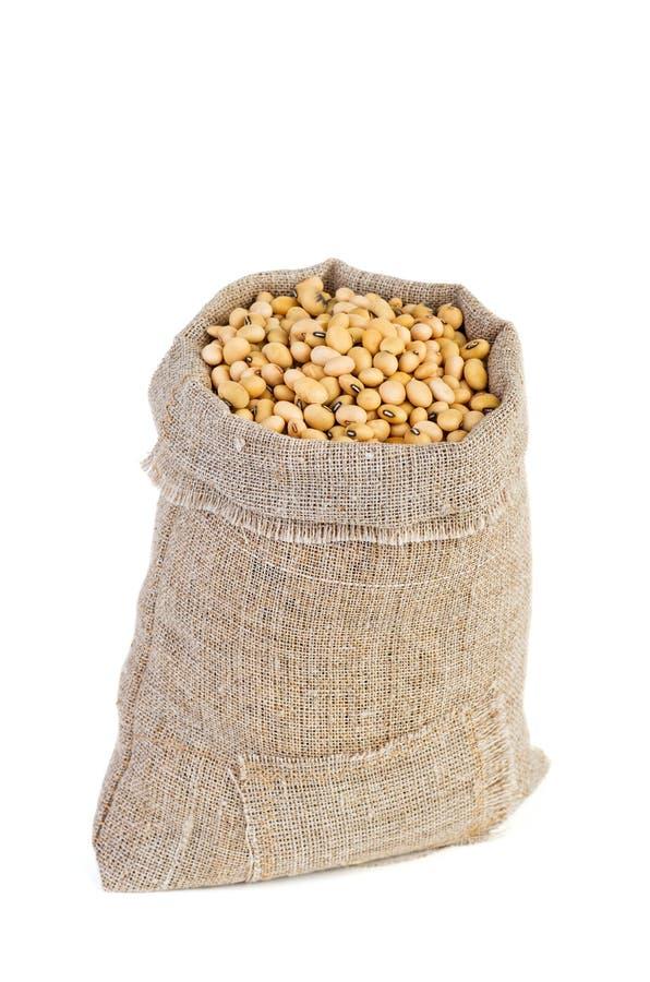 Sacco della iuta con i fagioli di soja secchi fotografia stock