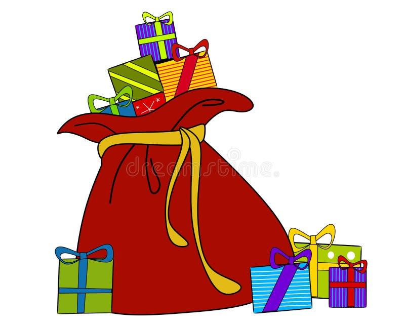 Sacco della Santa dei regali di natale illustrazione di stock