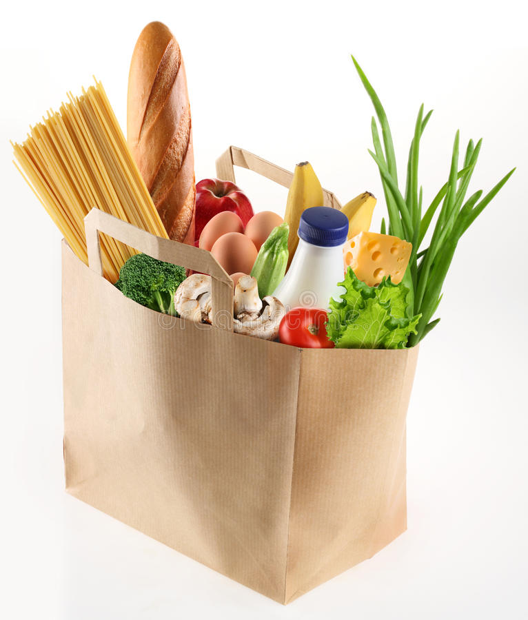 Sacco di carta con alimento fotografie stock