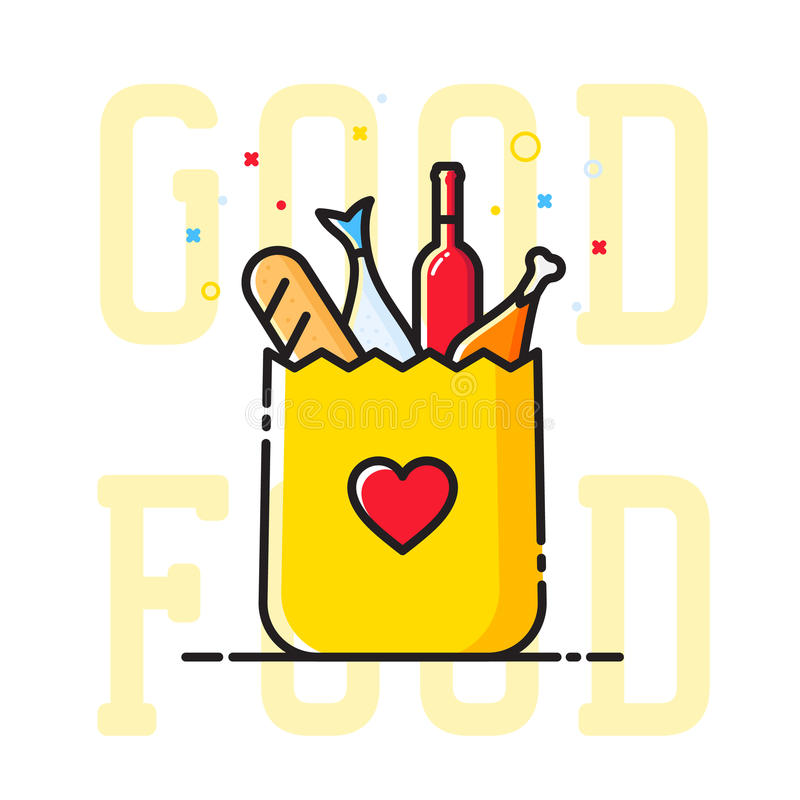 Sacco di carta del buon alimento con il simbolo del cuore, il pane, il vino, il pesce, ecc royalty illustrazione gratis