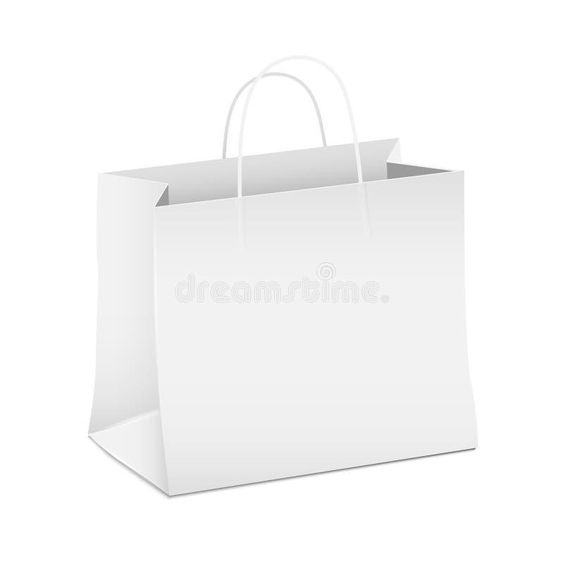 Sacco di carta di acquisto bianco vuoto illustrazione vettoriale